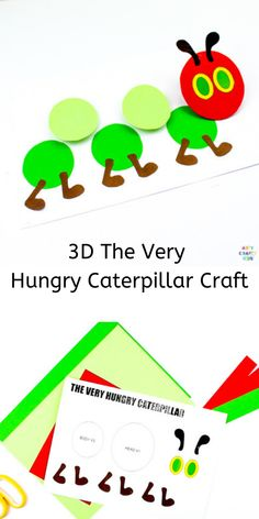 The Very Hungry Caterpillar Printable Craft - Arty Crafty Kids Very Hungry Caterpillar Printables, Hungry Caterpillar Craft, Spring Crafts For Kids, Crafts For Kids To Make, Kids Crafts, Easter Crafts, Bug Crafts, Preschool Crafts, Preschool Books