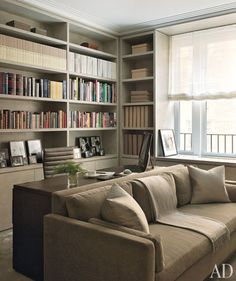Trendy Home Office Library Guest Room Ideas Desk Behind Couch, Bookcase Behind Sofa, Bookcase Door, Contemporary Office, Contemporary Landscape, Contemporary Interior, Contemporary Architecture, Contemporary Stairs, Contemporary Building