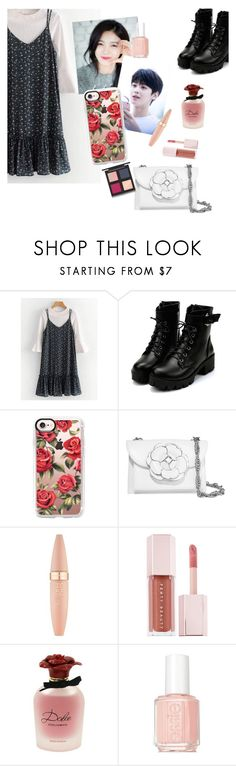 """going to meet the grandparents with the boy"" by elliewriter ❤ liked on Polyvore featuring Casetify, Oscar de la Renta, Maybelline, Puma, Dolce&Gabbana, Essie and The Body Shop"