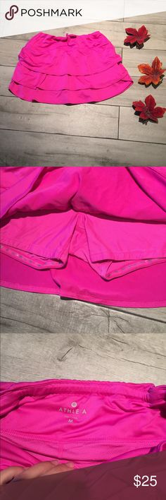 Athleta running skirt Great condition with attached mesh shorts with elastic bottoms. Athleta Skirts