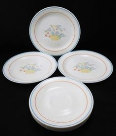 3 Corelle Country Cornflower Dessert/Bread/Butter Plates u0026 6 Saucers Corning # & 4 Corelle Impressions Thymeless Herbs pattern Saucers with Green ...