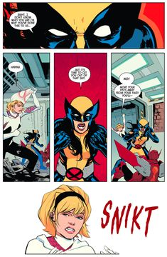 When Wolverine and Spider-Gwen switched bodies Disney Marvel, Marvel Art, Marvel Avengers, Comic Movies, Marvel Movies, Spiderman Girl, Tales Of Halloween, All New Wolverine, Secret Warriors