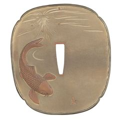 Elaborately Detailed Carp Themed 19th Century Art Tsuba, Attributed to the Kano Natsuo Studio, with Case and Pouch