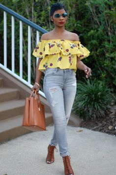 "ecstasymodels: "" Flowers. Denim. Wedges. I'M WEARING: Floral Top 