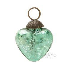 Mini Vintage Green Mercury Glass Ornament (heart design)