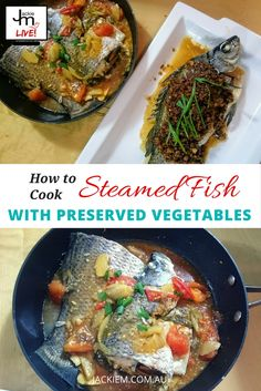 Jackie M shares a quick and easy steamed fish with preserved vegetables recipe from her LIVE Asian Kitchen broadcast on Twitch. Asian Cooking, Cooking Tips, Malaysian Food, Malaysian Recipes, Battered Fish, Asian Kitchen, Learn To Cook, Japchae, Vegetable Recipes