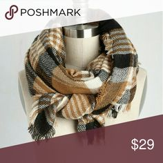 Modcloth Loch and Key Scarf In Brown Plaid New in packaging! Modcloth Loch and Key Blanket  Scarf In Brown Plaid ModCloth Accessories Scarves & Wraps