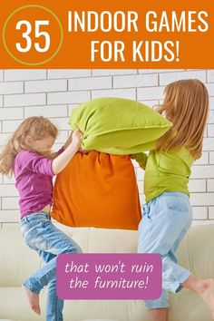 Fun active indoor games for kids that they can do without making a mess or breaking the furniture! Stuff to do when kids are stuck inside. Creative Activities For Kids, Autism Activities, Outdoor Activities For Kids, Family Activities, Kids Indoor Play, Indoor Games For Kids, Summer Fun For Kids, Best Children Books, Kids Reading