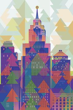 October Afternoon by Garth Glazier. The sun's light turns from orange to red. It feels like the last warm day of summer. Detroit Skyline, Detroit Motors, October Afternoon, Detroit Area, Quilt Designs, Blue Tones, City Art, Geometric Art, Christmas Trees