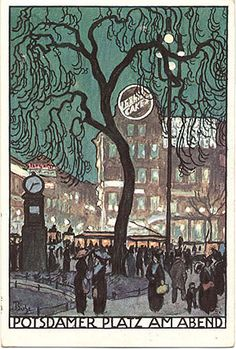 "Postcard ""Potsdamer Platz am Abend"", 1912. Postcard reads ""Postkarte - Herausgegeben zur Deutschen Lehrerversammlung Berlin 1912. Signed ""Buhe"" and ""Bx."" 