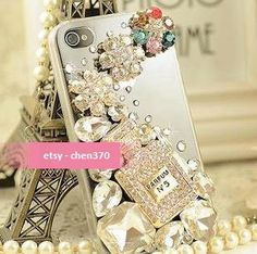 "3D Luxury Bling ""Perfume Bottle"" Crystals Flatback Scrapbooking / DIY Phone Case Deco Den Kit & Free Phone Case. $11.89, via Etsy."