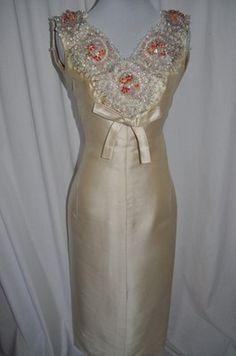 Jeanne Lanvin Vintage 1960's Silk Beaded Gown