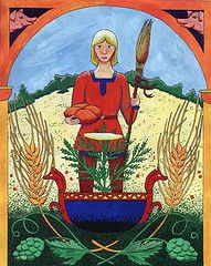 Byggvir is the Norse God of Barley and his wife Beyla is said to do things with bees and barley, most likely make beer.