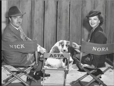 Asta the detective wirehair fox terrier on the set of The Thin Man series