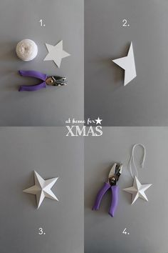 giochi di carta: Paper stars 3D At home for XMAS How To Make Decorations, Christmas Decorations, Christmas Ornaments, Christmas And New Year, Winter Christmas, Christmas 2014, Sculptures Papier, Origami Paper, 3d Paper