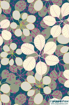 'Smokebush Flowers', a signature design by Pippa Shaw. Updated with a new sophisticated colour palette #pattern #cotinus #repeat #wallpaper #textile #design #home #decor #smokebush