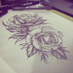 Trabalhando num esboço para cliente…  #roses #botanical