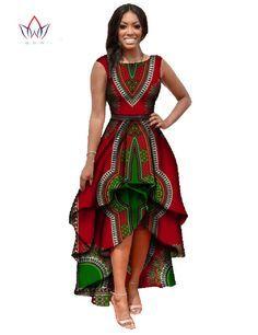 African Dashiki Ankara Dresses with Cascading Ruffle