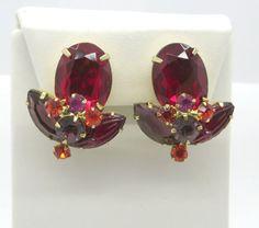 Vintage Juliana D&E Earrings Ruby Red Carved by LeesVintageJewels