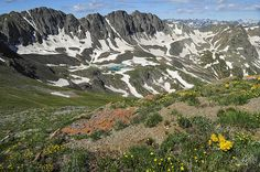 View of American Basin from the Summit of Colorado 14er Handies Peak - http://fineartamerica.com/featured/american-basin-aaron-spong.html #14ers #spring #prints