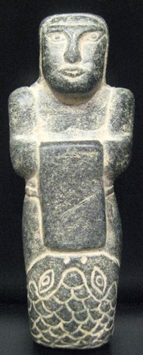 Elamite Standing Female Votive Figure -  Origin: Central Asia Circa: 2500 BC to 1500 BC Dimensions: 4.8 (12.2cm) high x 1.8 (4.6cm) wide Collection: Near Eastern Medium: Stone
