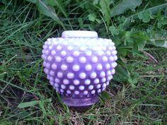 SUPER RARE FENTON ART GLASS ORHCID PURPLE HOBNAIL OPALESCENT VASE GINGER JAR