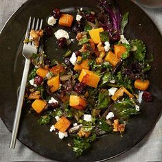 Kale and Butternut Squash Saute.  This vitamin-packed dish combines some of our favorite superfoods. Cranberries, walnuts, and goat cheese dress up simply seasoned veggies, making this a perfect choice for a holiday side.