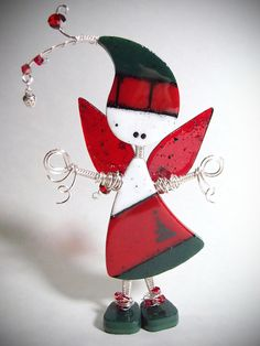 Fused Glass Art Doll ~ Christmas Elf Fairy ~ Lil' Darlings Holiday Home Decor Sterling Silver Sculpture Ornament Wire Wrap