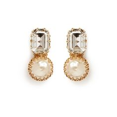 Miriam Haskell Large crystal Baroque pearl clip earrings (3.427.965 IDR) ❤ liked on Polyvore featuring jewelry, earrings, white, crystal clip on earrings, clip earrings, filigree earrings, swarovski crystal jewelry and oversized earrings