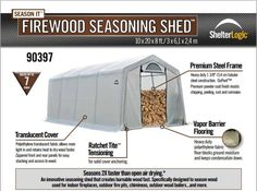 firewood seasoning shed Firewood Storage, Tent Camping, Steel Frame, Outdoor Gear, Shelter, Shed, Flooring, The Originals, Outdoor Camping