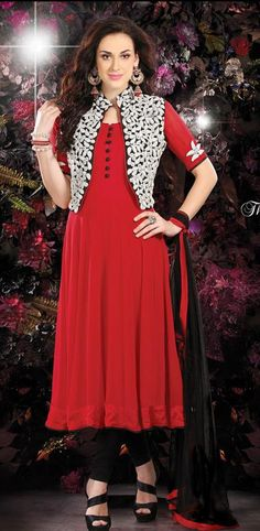 $150.36 Red Faux Georgette Embroidered Anarkali Salwar Kameez 26407
