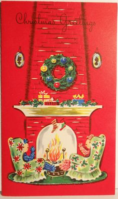 1950s Yarn Couple Sit by The Hearth Vintage Christmas Card