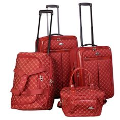 3c98a4b6e715 American Flyer Signature 4pc Softside Luggage Set - Red Luggage Sets