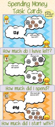 Practise solving money amounts and the addition and subtraction of money using these task cards.  Included in this pack are 72 task cards linked to money, using pictures of half dollars, quarters, dimes, nickels and pennies. Each set has 8 cards using the