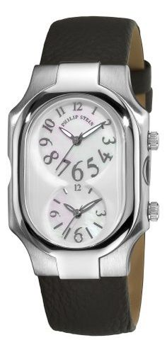 Philip Stein Women's 2-F-FSMOP-CB Signature Black Calfskin Leather Strap Watch Philip Stein. $429.00. •Quartz movement•Mother-Of-Pearl dial•Black calfskin strap•Pin buckle•Water-resistant to 99 feet (30 M). Save 28% Off!