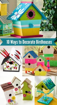 10 Fun Ways to Decorate Wood Birdhouses, DIY and Crafts, Make beautiful home decor - decorate birdhouses! Learn 10 techniques for decorating birdhouses with various items. Perfect for all skill levels, even . Bird Houses Painted, Bird Houses Diy, Painted Birdhouses, Homemade Bird Houses, Rustic Birdhouses, Decorative Bird Houses, Diy For Kids, Crafts For Kids, Summer Crafts