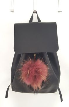 Large Dark pink with Brown shades Fluffy real Fox Fur Pom Pom, very easy to… Pom Pom Purse, Fur Pom Pom, Pom Poms, Fur Bag, Brown Shades, Winter Accessories, Fox Fur, Leather Backpack, Fashion Backpack