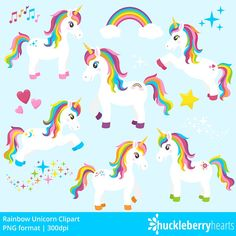 Unicorn Clipart, Unicorn Clip Art, Pony, Horse, Girl, Rainbow, Printable, Commercial Use. Features assorted rainbow unicorn clipart. Great for craft projects, card making, announcements, logos, blogs, etc. HOT SUMMER COUPON CODES: BUY 5 GET 2 FREE: FREE2 BUY 10 GET 5 FREE: FREE5 BUY 20 GET 15 FREE: FREE15 BE SURE TO PLACE ALL ITEMS IN CART(INCLUDING FREE ONES), THEN ENTER COUPON CODE AT CHECKOUT  Win a $10 shopping spree to Huckleberry Hearts on our Facebook page: http://bit.ly&#x2F...