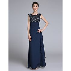 2017+Lanting+Bride®+Sheath+/+Column+Mother+of+the+Bride+Dress+Floor-length+Sleeveless+Chiffon+with+Lace+/+Side+Draping+–+USD+$+99.99
