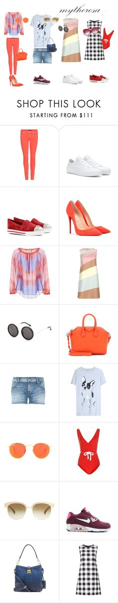 """Let The Sunshine In With mytheresa.com: Contest Entry"" by lindacaunite ❤ liked on Polyvore featuring 7 For All Mankind, Converse, Miu Miu, Christian Louboutin, Emilio Pucci, Valentino, The Row, Givenchy, Citizens of Humanity and Être Cécile"