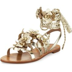Tory Burch Blossom Leather Gladiator Sandal ($295) ❤ liked on Polyvore featuring shoes, sandals, gold, tory burch flats, ankle strap sandals, woven leather sandals, lace up flats and lace up gladiator sandals