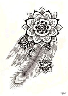Feathers mandala print by splund on etsy african queen tattoo, african tattoo, mandala Atrapasueños Tattoo, Tattoo Fonts, Body Art Tattoos, Sleeve Tattoos, Script Tattoos, Mandala Feather, Mandala Print, Mandala Design, African Queen Tattoo