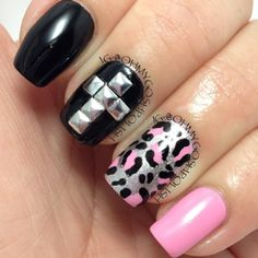 Photo by ohmygoshpolish #leopard #cross #pink #studs #glitter