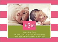 Solid Stripes Girl Birth Announcement - shutterfly