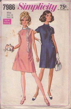 MOMSPatterns Vintage Sewing Patterns - Simplicity 7986 Vintage 60's Sewing Pattern LOVELY Mod Ruffle Trim Princess Seams Cocktail Party Dress, Air Stewardess Hostess Dress Size 14