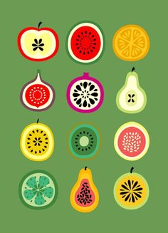 These simple fruit illustrations are also nice. They are simple, yet detailed. And the colors really pop on the green background. It makes me crave a fresh piece of fruit Banca de Frutas Art Print Fruit Illustration, Food Illustrations, Grafik Design, Food Art, Print Patterns, Creations, Artsy, Design Inspiration, Art Prints