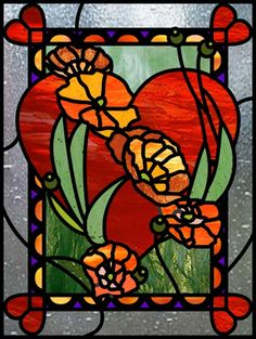 stained glass valentine heart and flowers