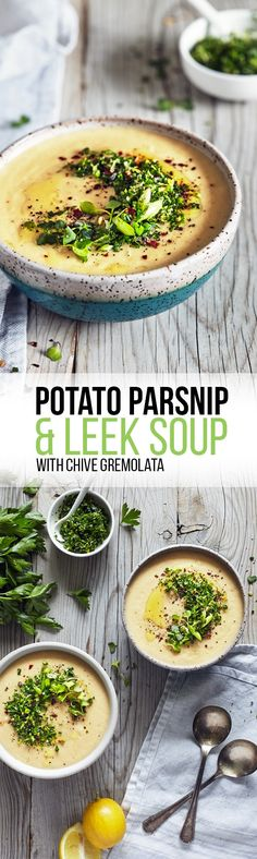 Potato Parsnip & Leek Soup with Chive Gremolata from @ngmwblog