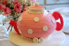 A Pretty Pink Tea Pot Cake for a Tea Themed Birthday! :)  My cousin is awesome!!!