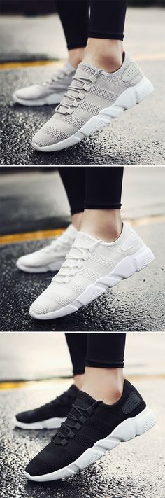 Men Knitted Fabric Pure Color Breathable Light Lace UP Casual Sneakers